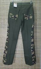 IMPRESSION JEAN USA WOMEN'S GREEN PURPLE CAMOUFLAGE PANTS SZ SMALL 29 X 29 #2509