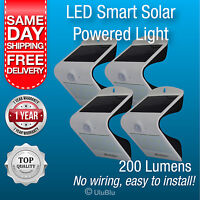 4 x Solar Powered Outdoor Lights LED W'proof Motion Sensor Activated Wall Light