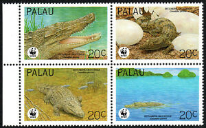 Palau 323 Bl/4, MNH. World Wildlife Fund. Estuarine Crocodile, 1994