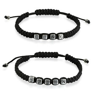 """2pcs Couple Handmade """"Her King"""" """"His Queen"""" Braided Black Leather Strap Bracelet"""
