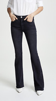MCGUIRE DENIM Majorelle Mid Rise Distressed Flare Jeans Dark Blue 24 $248 #45