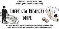Personalised Birthday Party Banner _ VINTAGE CASINO DICE CARDS ACES