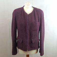 Max Mara Weekend Womens Jacket Size UK 16 Purple Glittery Wool Cotton Plus  Size 10431c357ac