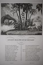Lion Malade Renard JEAN DE LA FONTAINE Fable Gouget GRAVURE in4 1834