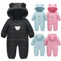 Newborn Baby Boys Girls Romper Jumpsuit Infant Kids Thick Cotton Warm Outfit AB