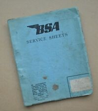 1940's 50's BSA D1 D3 Bantam C10L Motorcycle Dealer Service Sheets Manual Book