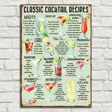Classic Cocktail Recipes Vintage Metal Tin Plaque Kitchen New Home Bar Pub Club