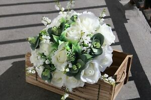 Artificial Wedding Flowers Ivory Rose Lily & Gyp Informal Hand Tied Posy Package