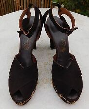 Vintage 1940s Brown Suede Peep Toe Ankle Strap Jeweled Platform Sandals 7 ½