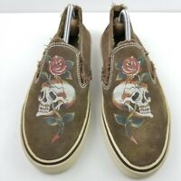 """Ed Hardy Mens Suede Slip On Shoes Large Skull Red Rose Brown Size 9"""" EUR 40"""""""
