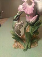 VINTAGE 1985 HOMCO MASTERPIECE HUMMINGBIRD ON PINK ORCHID Bone China