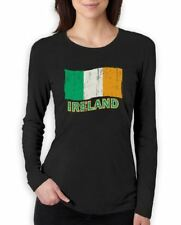 Ireland Flag Women Long Sleeve T-Shirt For St. Patrick's Day Green Irish Patty's