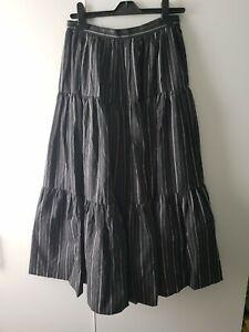 Louis Feraud Rembrandt Skirt Tiered Underskirt Size 12 Black Stripe Midi