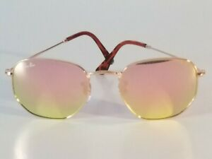 Ray-Ban RB3548 Hexagonal Unisex Sunglasses Gold Frame/ Pink Mirror Flat Lens