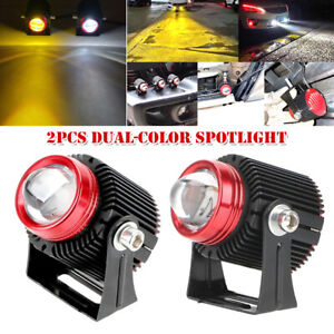 Motorcycle Bike Car Dual-color LED Front Spot Light Headlight Driving Fog Lamp