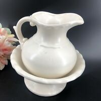 Vintage White Porcelain Pitcher and Wash Basin Small Farmhouse Decor Style