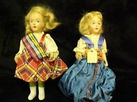 "PAIR OF ANTIQUE CELLULOID 6 1/2"" HAND PAINTED JOINTED ARM POLAND GIRL DOLLS"