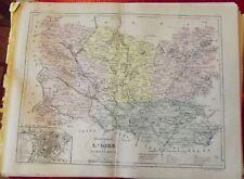 Old Map 1900 France Département l'Oise Beauvais Clermont Marseille le petit