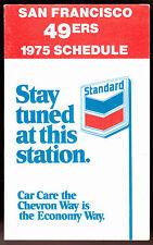 1975 SAN FRANCISCO 49ERS STANDARD CHEVRON FOOTBALL POCKET SCHEDULE FREE SHIP