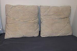Vintage Original (2) Blue Stripe Ticking Covered Throw Pillows - Non Feather