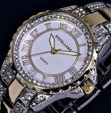 Excellanc Uhr Damenuhr Armbanduhr Bicolor Silber Gold Farben STRASS Bi21