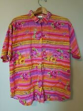 Vintage Jacque & Koko Shirt Button Front Short Sleeve Rose Print Pink Casual