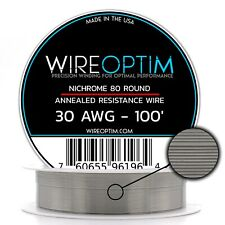 30 Gauge AWG Nichrome 80 Wire 100' Length - N80 Wire 30g GA 0.254 mm 100 ft