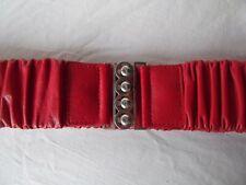 vtg red leather obi cinch stretch ruched belt silver rhinestone crystal buckle