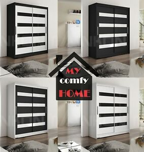 "Modern Wardrobe ""WENDY 4"" Glass Panel Double Sliding Doors Hanging Rail 150 cm"