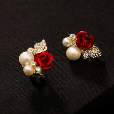 Rhinestone Pearl Ear Stud Earrings Pop Women Korean Style Rose Flower Crystal