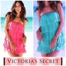 NEW Victoria Secret Swim Cover Up Heart Lace Mesh Ruffle Layered Pink Blue  S M