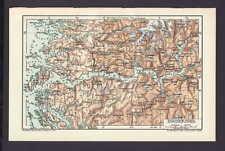 Sogne-Fjord, alte Landkarte mit Jahreszahl 1912