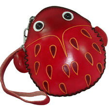 Leather Coin/Change Purse/jewelry Carry/id/Credit Card Holder, Beetle Pattern,