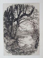 OLD ETCHING by F EMERIC DE ST DALMAS c1881 QUIET NOOK RIVER SCENE ANTIQUE VIEW