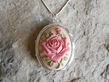 STUNNING PINK ROSE ON TAN, BEIGE CAMEO LOCKET NECKLACE!!! QUALITY!!! UNIQUE