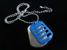 Blue & silver dog tag G I Jane girls 16 inch necklace Xmas stocking filler gift