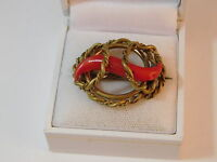 """Victorian Inspired Faux Coral Gold tone Brooch Vintage Pin """"C"""" Catch 7g 96"""