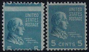 "810 - 5c Misperf Error / EFO ""James Monroe"" Prexie ""Presidential Series"" Mint NH"