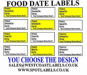 Food Date Labels - Product, Best Before Use by Opened Defrosted, Personalised