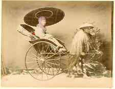 Japon, Japanese Geisha in a Rickshaw Vintage albumen print, Japan Tirage a