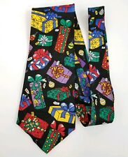 Seasons Christmas Themed Silk Necktie Tie Black w/Ornaments & Gifts Made in USA