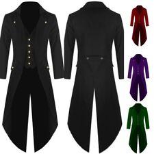 Men Tailcoat Jacket Frock Coat Costume Uniform Cosplay Outwear Suit Black S
