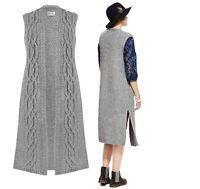 M&S Grey Wool Cable Knit Cardigan Jacket Waistcoat Plus 12,14,20 RRP £42.50