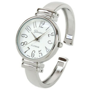 Silver Slim Case Women's Bangle Cuff Watch