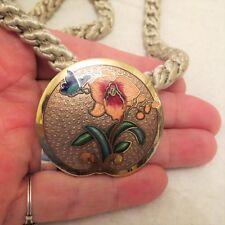 Vintage Cloisonne Enamel Orchid Flower Pendant Braided Necklace 23in