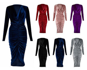 Womens Ladies Crushed Velvet Cowl Neck Long Front Ruched Midi Dress UK Size 8-28