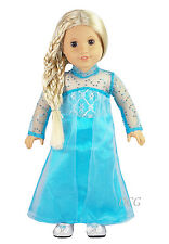 "AFW FROZEN INSPIRED ELSA DRESS #269 TEAL SEQUIN SLEEVE [NO SHOES] for 18"" Dolls"