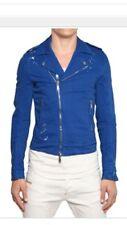 Designer DSQUARED 2 Men's Blue Cotton Biker Jacket Size: 54 Large New
