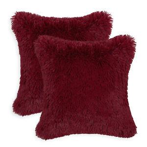 "2Pcs Burgundy Pillow Shell Cushion Covers Soft Plush Faux Fur Fleece Sofa 18x18"""