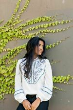 Free People Sundance Kid Henley Embroidered White Button Tunic Top New L Floral